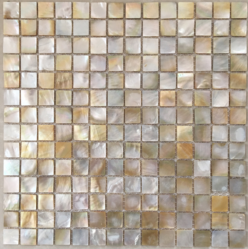 "Gold Mother of Pearl Shell Mosaic Sheet 20mm - 1"", 1 tile"